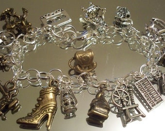 Antique Charm Bracelets, ANTIQUE-ing, Yard Sales, HOBBEEdesigns, Free Shipping, Chain Bracelets, Flea Markets, Holiday Bracelets, Charms