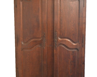 Provincial Louis XV Stained Oak Armoire, Antique Wood Armoire, French Armoires, Antique Wardrobes, French Country Antiques