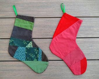 Red or Green Patchwork Stocking to hang over Mantel for Christmas or Holiday Season