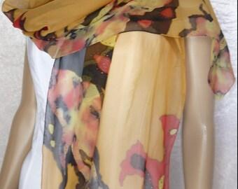hand painted silk chiffon scarf