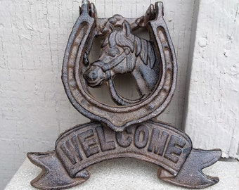 Cast Iron Lucky Horse Shoe Welcome Front Door Knocker Rustic Western Ranch Home Decor - Housewarming Gift Horse Equine Lover
