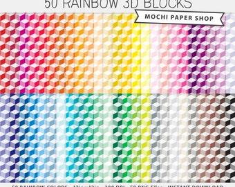3D Block Digital Paper, Geometric Background Pattern, Multicolor Digital Graphics Scrapbook Paper Download, Cardmaking, Rainbow PNG Files