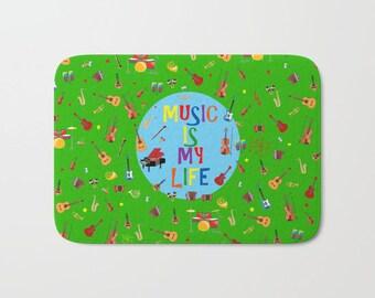 Musical instruments bath mat-Electric guitars-Cool kids decor-Green bath mat-Music lover bathroom-Bathroom decor-Colourful-Modern bathroom