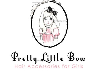 Pretty Little Bow  OOAK Character Illustrated Premade Logo design-Will not be resold