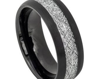 Semi-Domed Black IP Plated with Imitation Meteorite Inlay – 8mm