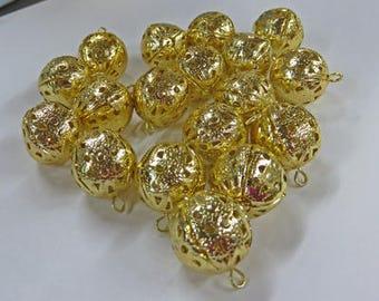 Perles en filigrane - Vintage or pendantes perles en filigrane - 3 paquets de perles Vintage 18mm