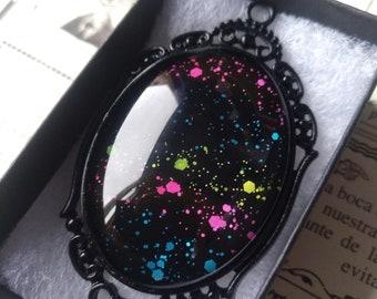 Rainbow Nebula Gothic Necklace - Black gift box included