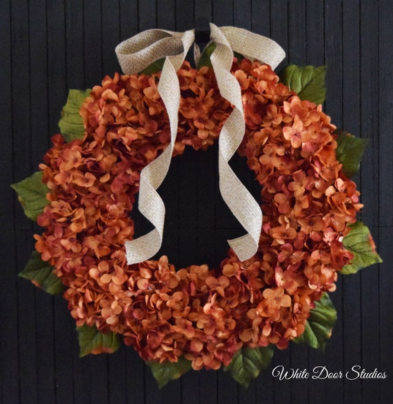 Orange Hydrangea Summer and Fall Front Door Wreath