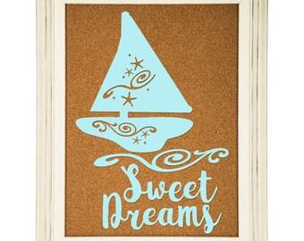 Sailboat Flourish , Sweet Dreams Nautical Nursery Digital Download SVG Cut File, Digital Cutter Design for htv, vinyl, SVG, PNG file
