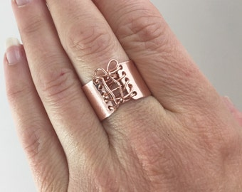 Corset Ring, Handmade Ring, Rose Gold Ring,  Wide Band Ring, Statement Ring, Tied Up, Laced Up, Gift For Wife