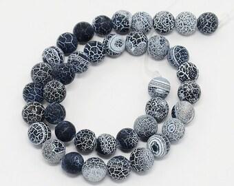 50 cracked 8 mm black dragon vein agate beads