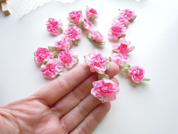 10 Pink ribbon roses - Handmade ribbon flowers - Ombre pink fabric flowers - Flower appliques - Wedding favor flowers - Millinery flowers