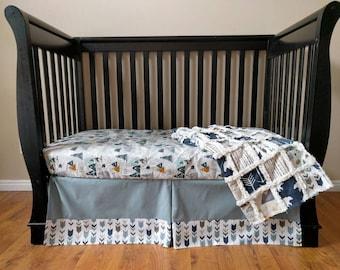 Slate Blue Adventure Crib Bedding