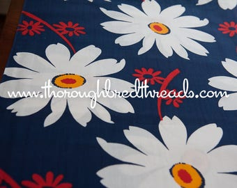 Big Fun Daisies- Vintage Fabric 70s New Old Stock Navy Blue