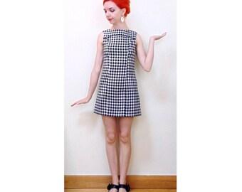 Vintage Mod Dress, 90s Dress, 90s Does 60s, Dogtooth Dress, Houndtooth, Scooter Dress, Rudie, Mini Dress, Ska Dress, 60s Inspired, 60s Style
