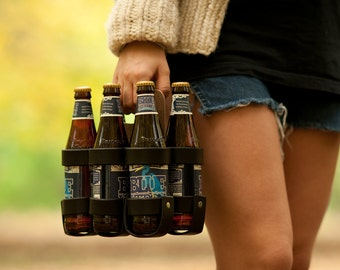 """Leather Beer Holder - The """"Spartan Carton"""" - Leather and Wood 6-Pack Beer Carrier"""