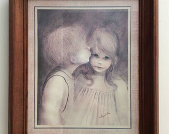 Margaret Kane's A Little Kiss Framed and Signed, Circa 1960's, a picture of sweet innocence! LOWER PRICE