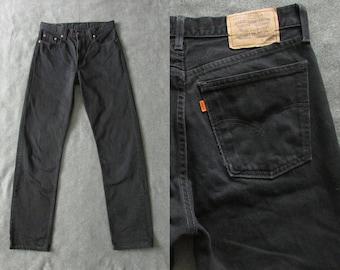 Size 33   90s Vintage Levis 615 Orange Tab High Waist Black Jeans