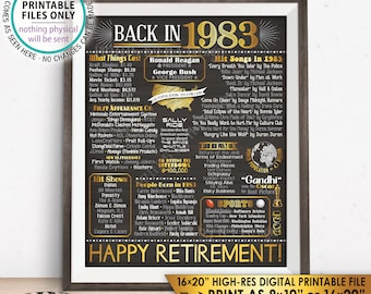 "Retirement Party Decorations, Back in 1983 Poster, Flashback to 1983 Retirement Party Decor, Chalkboard Style PRINTABLE 16x20"" Sign <ID>"
