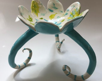 gorgeous turquoise flower Dish :) colorful ceramic candleholder or soap dish
