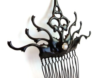 Carnival Hair Comb Gothic hair ornament made with Clock hands black with crystal perfect for that chic vampire bride- She lurks