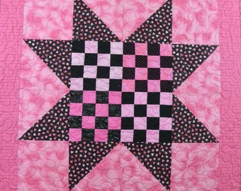Pink and Black Star Quilt