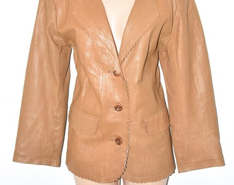 Vintage Brown Genuine Leather PETER HAHN Button Semi Fitted Women's Blazer Jacket Size UK14