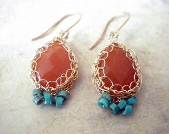 Crochet gold earrings, Crochet Red Aventurine, Turquoise, and 14k gold filled earrings