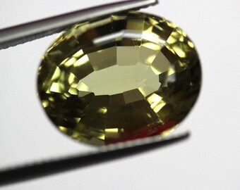 Loose natural untreated Oval Vivid Greenish Yellow VS Golden Beryl 13.55ct