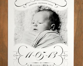 "Birth Announcement - (""Yesteryear"") - Size A9 - Vintage, Elegant"