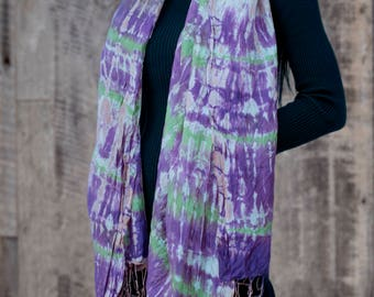 Tie Dyed Thai Silk Scarf - Purple & Touch of Green