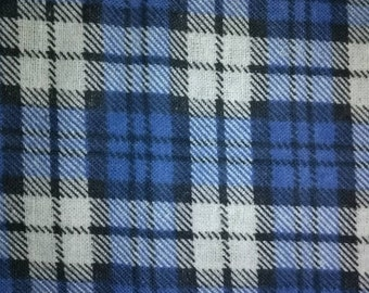 Blue Plaid Flannel Fabric