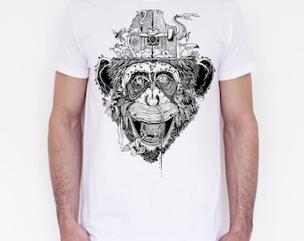 T-shirt unisex handprinted Giungla Urbana white edition