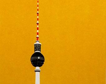Berlin TV Tower handpulled screen print (yellow)