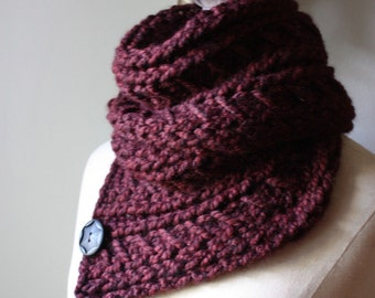 Knitting Pattern / Cowl Shoulder Warmer / Bordeaux / Chunky Oversized Knitting DIY Tutorial