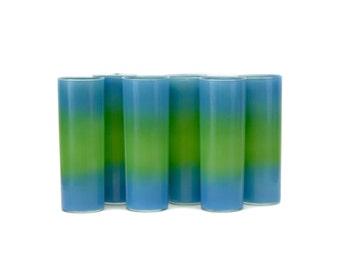 Vintage Blendo 'Bermuda Twist' Aqua & Green Collins Glasses, Set of 6 (E8069)