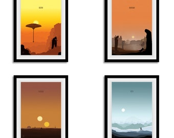 Star Wars Inspired Poster Set - Minimalist Planet Prints WITH or WITHOUT text- A3/A4 Size - Pick And Choose - Specify Prints In The Checkout