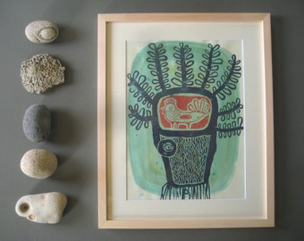 ORIGINAL linocut print in a wooden frame bird in the tree