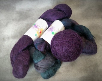 Suri Alpaca Yarn Skeins Lace Weight 3 Hanks Skeins 2625 yards Purple Plus Purple Blue varagated blend
