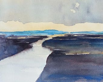 The Long River, Original Watercolor painting, contemporary blue gray field, modern home decor, impressionist style