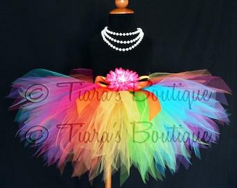 Rainbow Tutu, Big Girls Tutu, Tween Tutu, Girls Tutu, Dance Party Tutu, Roller Skate Birthday Tutu, 11'' Pixie Tutu, Aura, sizes 9 to 12