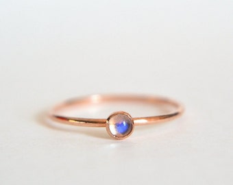 14k Solid ROSE Gold Ring, Rose Gold Moonstone Ring, Moonstone Ring Rose Gold, Pink Gold Ring, Stacking Ring, Stackable Ring