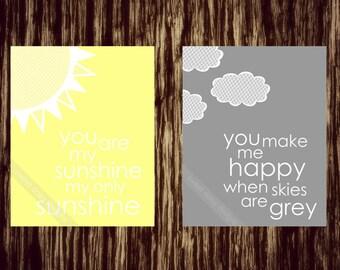 Kindergarten-Druck, Sie sind mein Sonnenschein PRINTABLE, du bist mein Sonnenschein Wand-Kunst, Nursary Kunst, Baby-Raum-Kunst, grau und gelb Baby-Wand-Kunstwerk