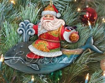 Whale tales Santa Ornament, Christmas  Tree Decoration  8117827