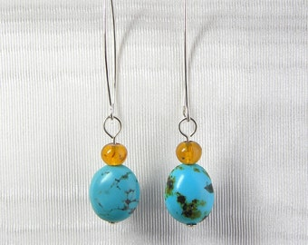 Turquoise, Amber and Sterling Silver Wire Earrings
