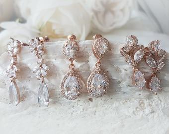 Bridal Crystal Drop Earrings, Pear Cubic Zirconia, CZ Studs Earrings, rose gold earrings, crystal pear shape, rose gold ANNA