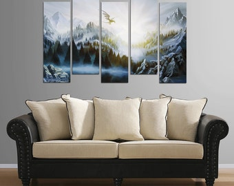 Large 5 piece Skyrim mountain landscape painting plastic plate mounted print