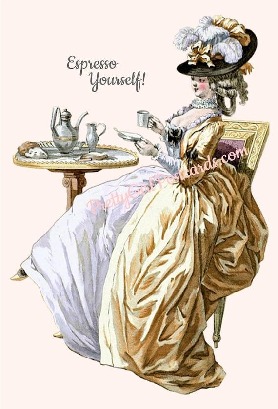 Marie Antoinette Card ~ Espresso Yourself! ~ Funny Postcard ~ Cafe ~ Latte ~ Coffee Beans ~ Coffee ~ Tea ~ Chai ~ Milk ~ Starbucks ~ Gold