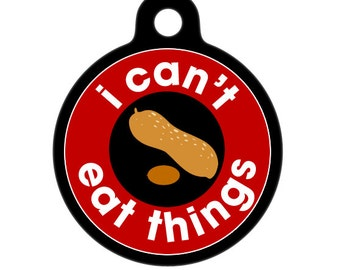 Medical Id Tag - I Can't Eat Things, Peanuts - Food Allergies Medical Alert Tag, ID Tag, Child ID Tag, Pet Tag