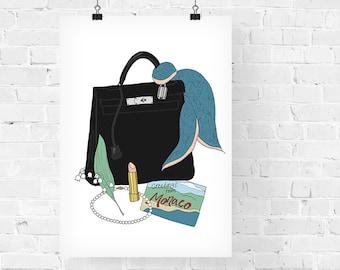 Grace Kelly What's in my Bag Portrait Fashion Illustration Art Print